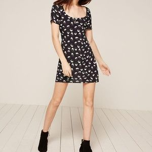 Reformation NWT Jalen Mini Dress Printed Black