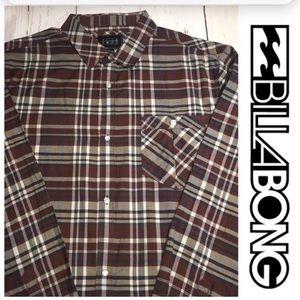 🆕Billabong Men's Long Sleeve Plaid Shirt