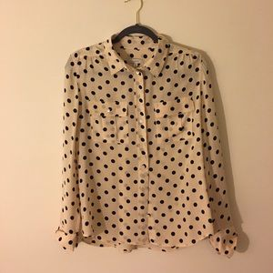 Jcrew polka dotted blouse