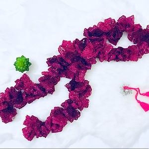 Accessories - Burgundy Pink Handmade Crochet Scarf with sequins