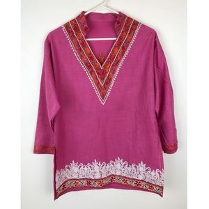Tops - Embroidered Pink Orange Tunic