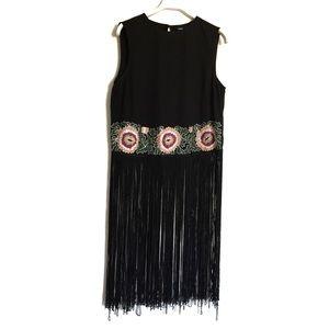 Asos black embroidered floral fringe crop top 4