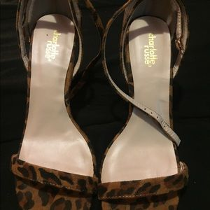 Leopard print single sole heels