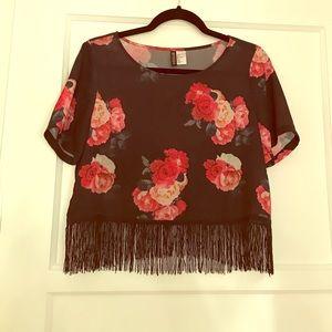 H&M floral fringe blouse