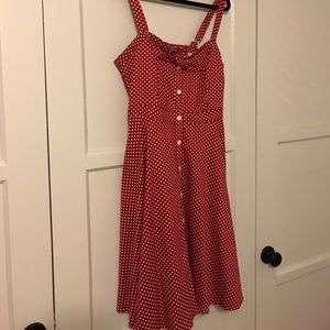 City Chic Red Polka Dot Dress