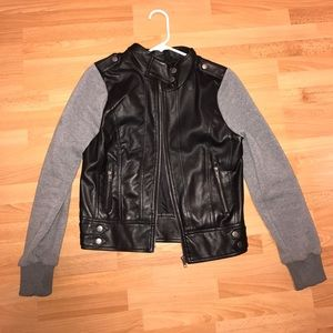 Hoodie/Leather Jacket - Forever 21