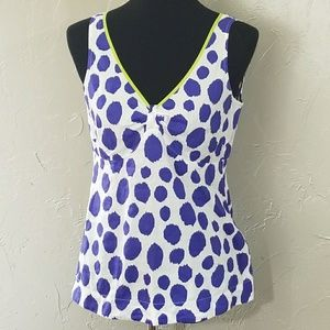 Boden fitted White With Raw Purple Polk Dots Top
