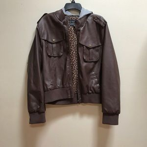 Jackets & Blazers - Faux Leather Bomber Jacket Brown Removable Hood