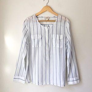 LOFT Blue Striped Collarless Button Front Shirt