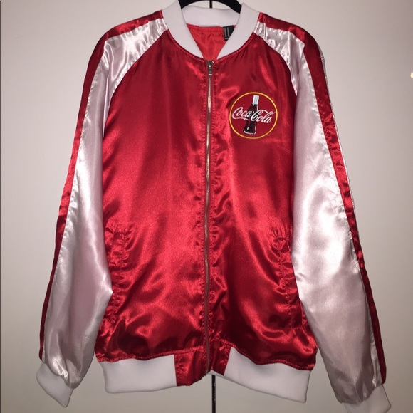3ea5975b6 Coca Cola satin bomber jacket red and white