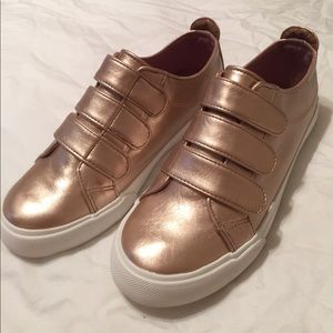 Gold Velcro Slip On Sneaks - JustFab