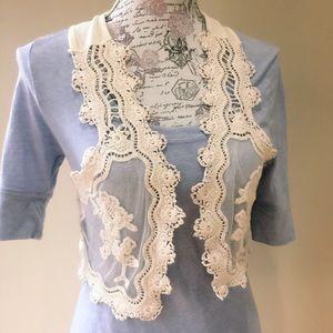 NWOT Beautiful Crocheted Lace Open Vest S