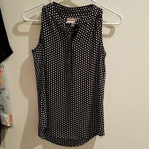 BR Black and white polka dot sleeveless blouse