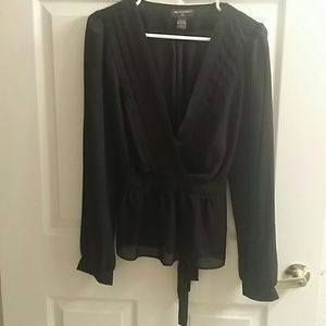 Banana Republic Black Sheer Blouse Sz Petite XL