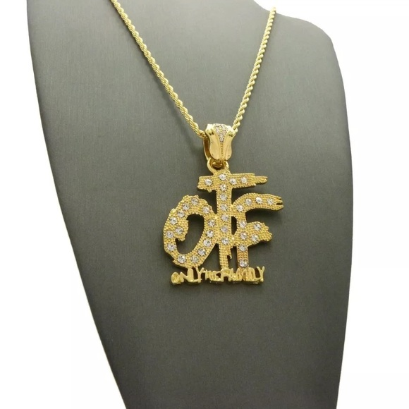 OTF MENS Hip Hop Gold Chain Pendant Cz Iced Out NWT