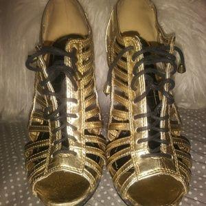 Anne Michelle Gold & Black Caged Heels