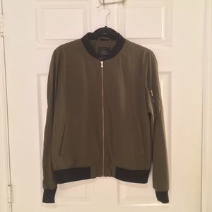 Zara army green bomber jacket