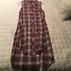 Flannel patterned hi-low dress