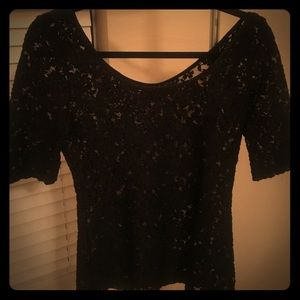 Banana Republic Mesh Flower 3/4 sleeve Top