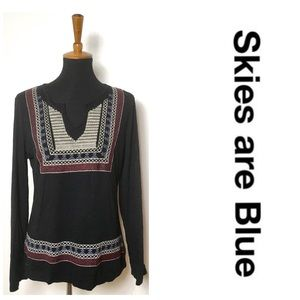 Skies are Blue Black Tribal Long Sleeve