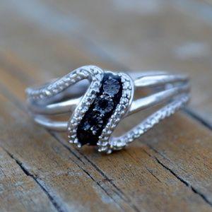 JWBR Sterling Silver Black Diamond Kay Ring Size 7