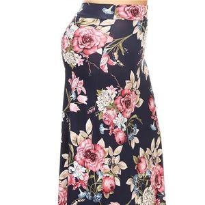 Dresses & Skirts - Plus Maxi Floral Skirt Navy Blue Pink 1X 2X 3X