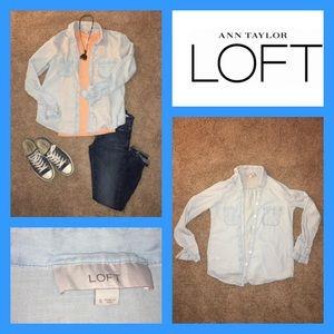 Ann Taylor LOFT chambray Button Down