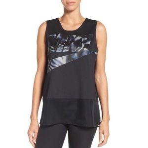 Nike 'Floro' Mesh-Trim Tank in Black
