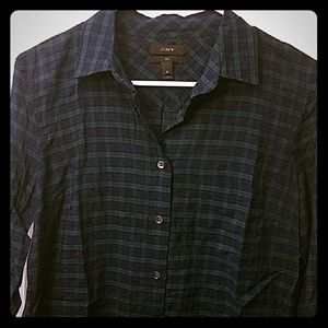 J. Crew blue and green plaid button down