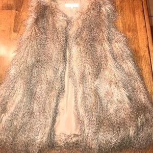 Tan faux fur vest