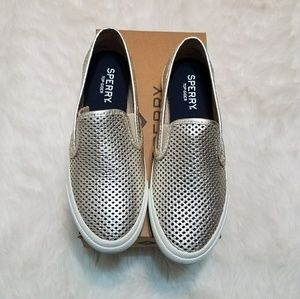 NEW! Sperry Top-Sider Metallic Slip Ons