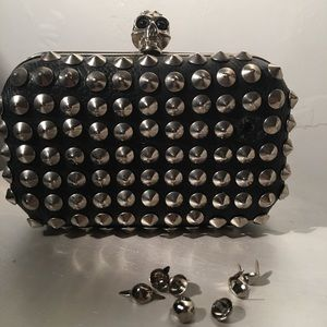 Black Faux Leather Clutch w/ Skull 💀 & Spikes