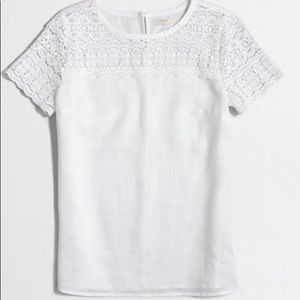 J. Crew White linen and Lace top