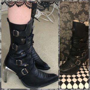 Vintage New Rock Black Leather Boot w/ Metal Heel