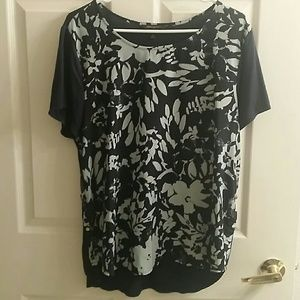 Banana Republic Navy Blue & Lime Green Top Sz X