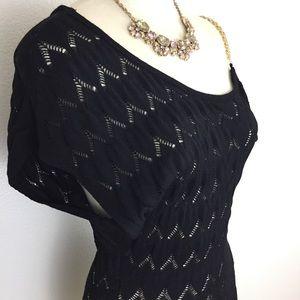 Bebe Black Knit Off the Shoulder Blouse