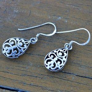 Jewelry - Sterling Silver Filigree Scroll Dangle Earrings