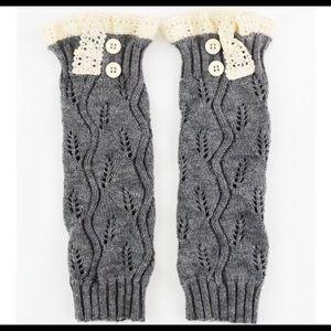 Grey Crochet Leg Leg Warmer/Boot Sock