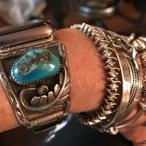 Vintage SS/turquoise Navajo IWATCH BAND ONLY