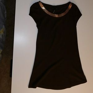 H&M brown tunic with gold sequin lining