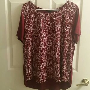 Banana Republic Maroon Print Blouse Sz XL