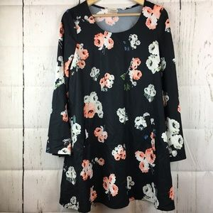 She Inside Floral Black Dress with Bell Sleeves