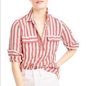 J.Crew Red Stripe Linen Shirt