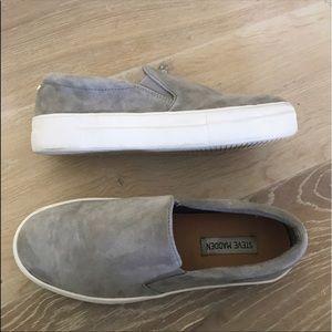 Steve Madden Grey Slip Ons