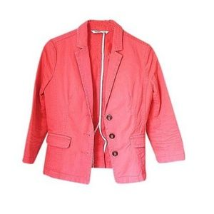 Salmon Pink Preppy Three Buttons Cotton Blazer
