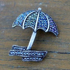 Jewelry - Vintage Aged Silver Tone Umberella Rhinestone Pin