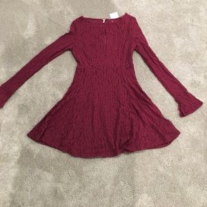 NWT free people cranberry red lace dress small