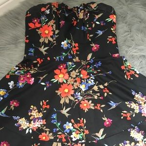 Black dress with floral print from express