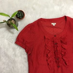 Odille Red Ruffle Blouse