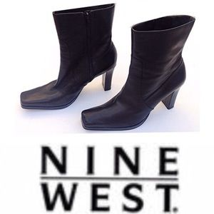 Nne West, Chunky Heel Platform Leather Ankle Boots